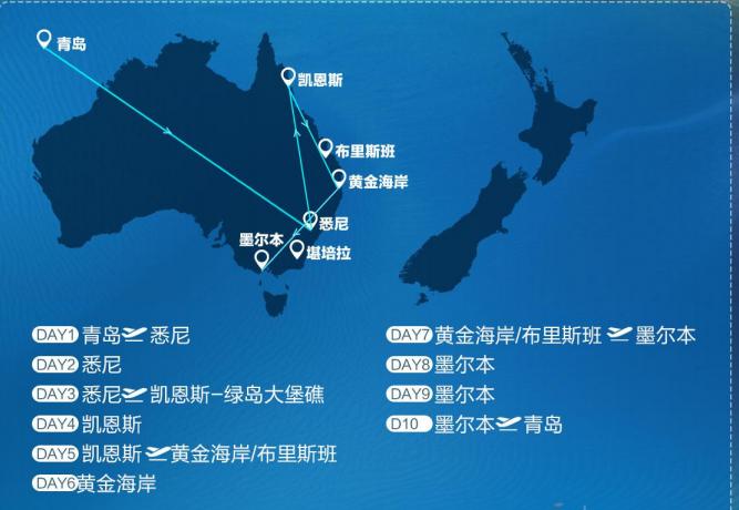 春節青島去澳大利亞旅游——澳大利亞+凱恩斯+墨爾本10日游(純玩無購物無自費,升級2晚五星酒店)